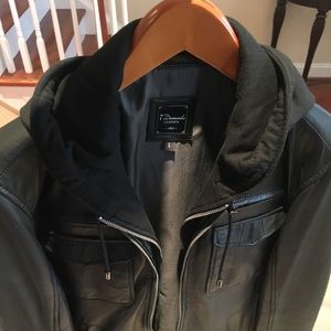 7 Diamonds leather hoodie jacket